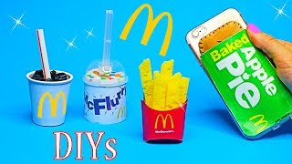 5 McDonalds DIY Crafts {Easy}! Miniature Notebook,Pen,Phone Case,Food Slime DIYs-DIY School Supplies