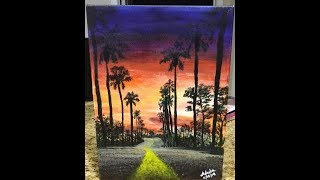 Sunset painting of Los Angeles