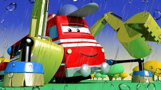 列車のトロイと 🚄  ティナが泥にハマる!  🚄 カーシティーにいる l 子供向けトラックアニメ Train Cartoons for Children
