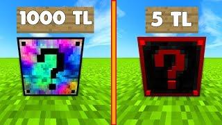 1000 TL VS 5 TL ŞANS BLOKLARI - Minecraft