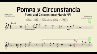 Pomp and Circunstance Sheet Music for Alto saxophone, baritone saxophone and horn