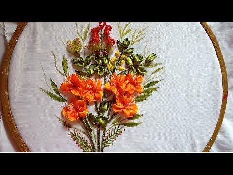 Hand Embroidery. Ribbon Embroidery Flowers Design.