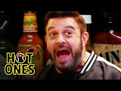 Adam Richman Fanboys Out While Eating Spicy Wings   Hot Ones