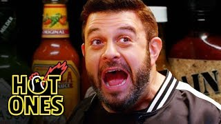 Download Adam Richman Fanboys Out While Eating Spicy Wings | Hot Ones Mp3 and Videos