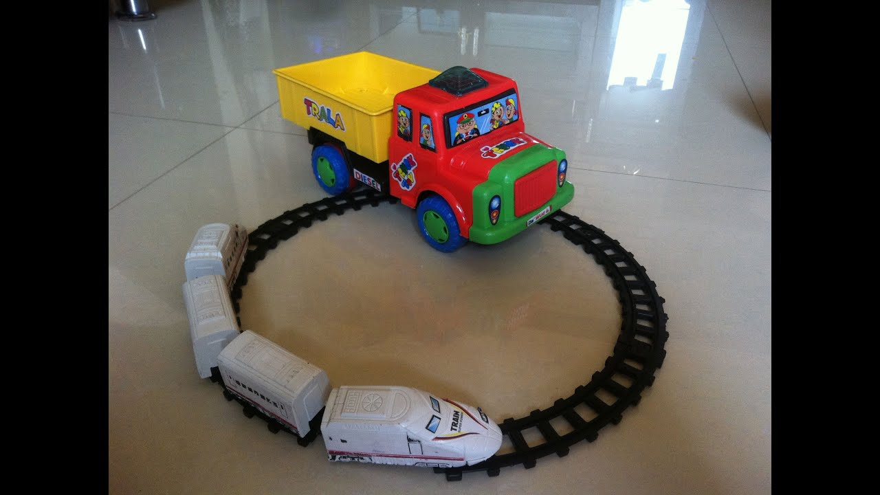 Kids Playing With Pickup Toy Truck Carrying Choo Choo Trains For