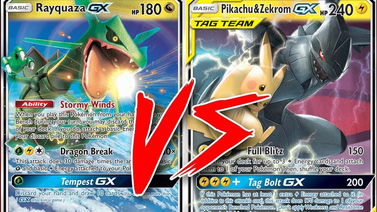 Rayquaza Gx Hat Trick Vs Pikachu Zekrom Gx Tabletop Pokemon