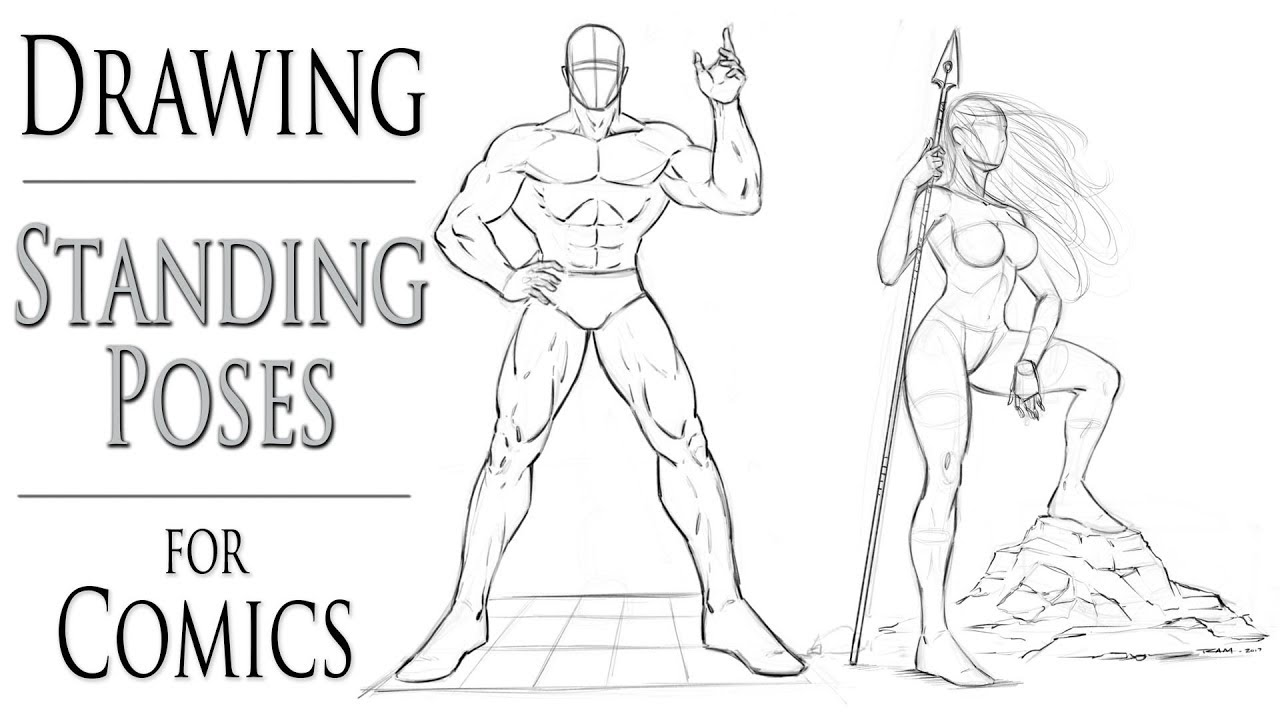 How To Draw Standing Poses For Comic Book Heroes Youtube