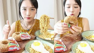 Indomie donut🍩Mi goreng ramen eating show _  Selected as the most delicious remen in the world :D