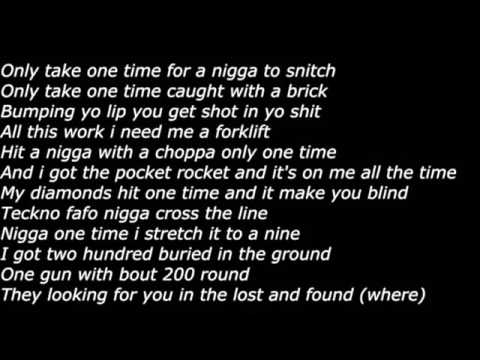 Migos-One Time Lyrics on screen