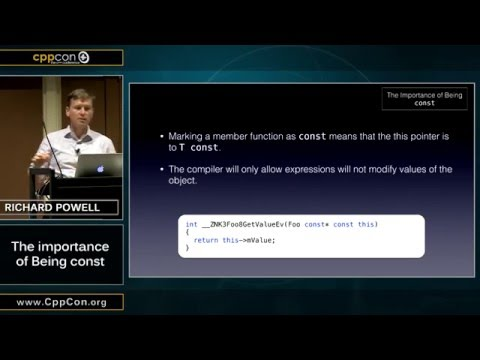 """CppCon 2015: Richard Powell """"The Importance of Being const"""""""