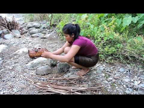 Primitive Technology   Cooking Big Cat Fish By Girl At River   Women Grilled Fish Eating Delicious