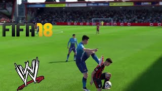 FIFA 18 WRESTLING LIKE WWE AND FAILS #3 (FIFA 18 WWE AND BRUTAL FOULS)