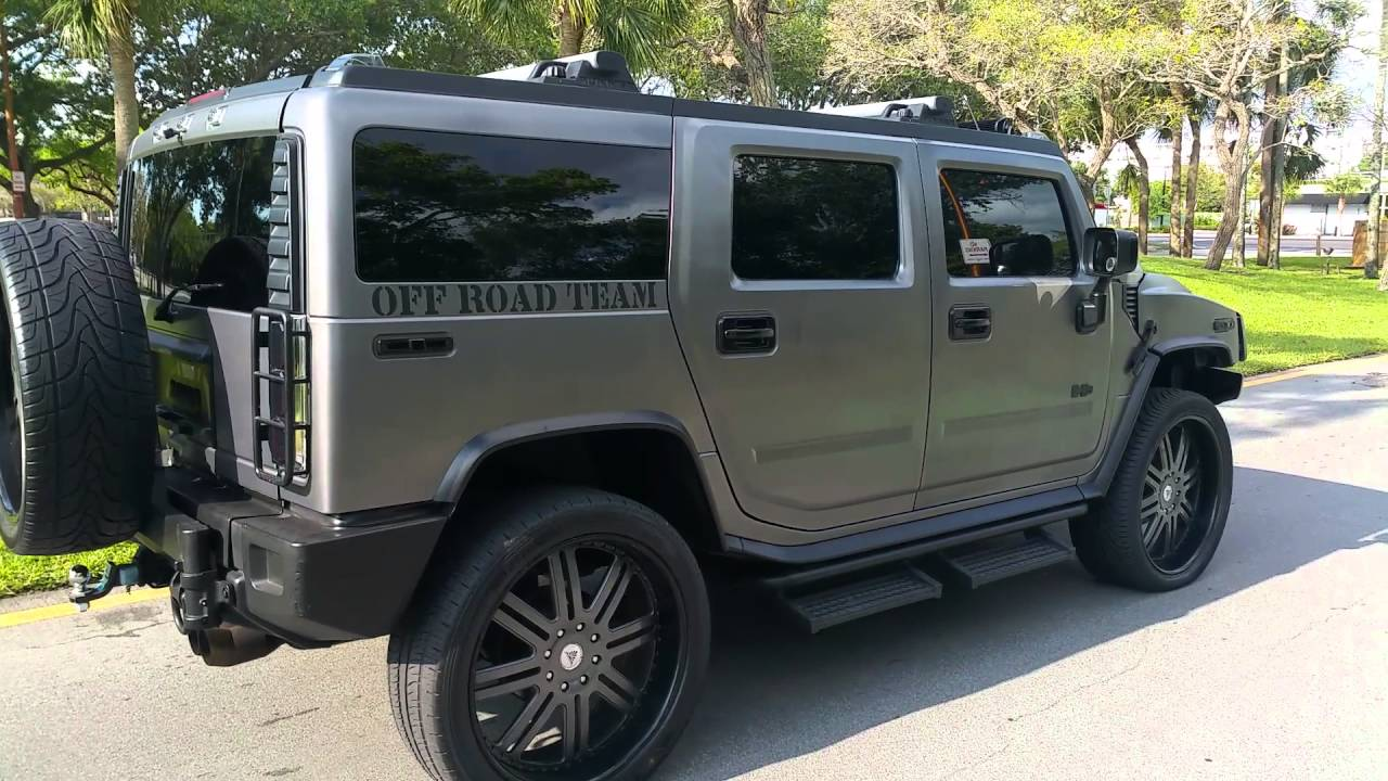 2003 hummer h2 tricked out on 26 in rims for sale youtube. Black Bedroom Furniture Sets. Home Design Ideas