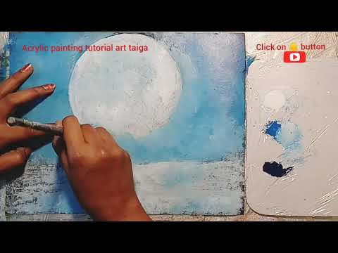 Interesting MOON WINTER LANDSCAPE|Easy&Simple Acrylic Painting techniques |Satisfying demonstration