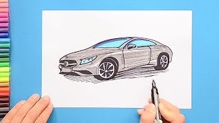 How to draw and color a Mercedes Benz car