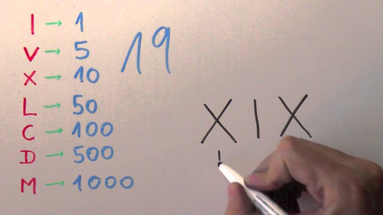 Cómo Se Escribe 19 Con Números Romanos Número Diecinueve Xix Youtube