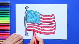 How to draw and color the National Flag of USA
