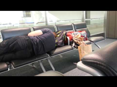 Narita Airport  dude snoring