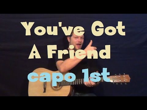 You've Got a Friend (Carole King) Guitar Lesson Capo 1st Fret How to Play Tutorial