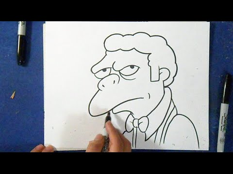 Como desenhar o Moe Szyslak - Os Simpsons
