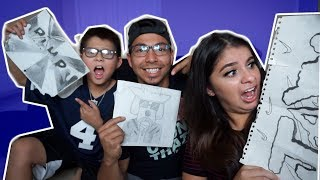 SON & MOM REACT TO DADS HILARIOUS GANGSTER DRAWINGS! JUSTUS+2 FAMILY