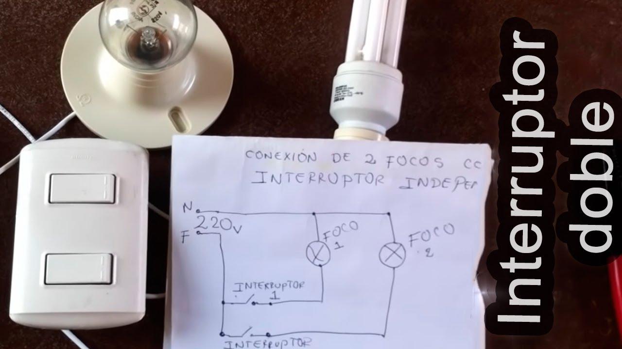 C mo conectar dos focos con interruptor doble youtube - Como instalar lamparas led ...