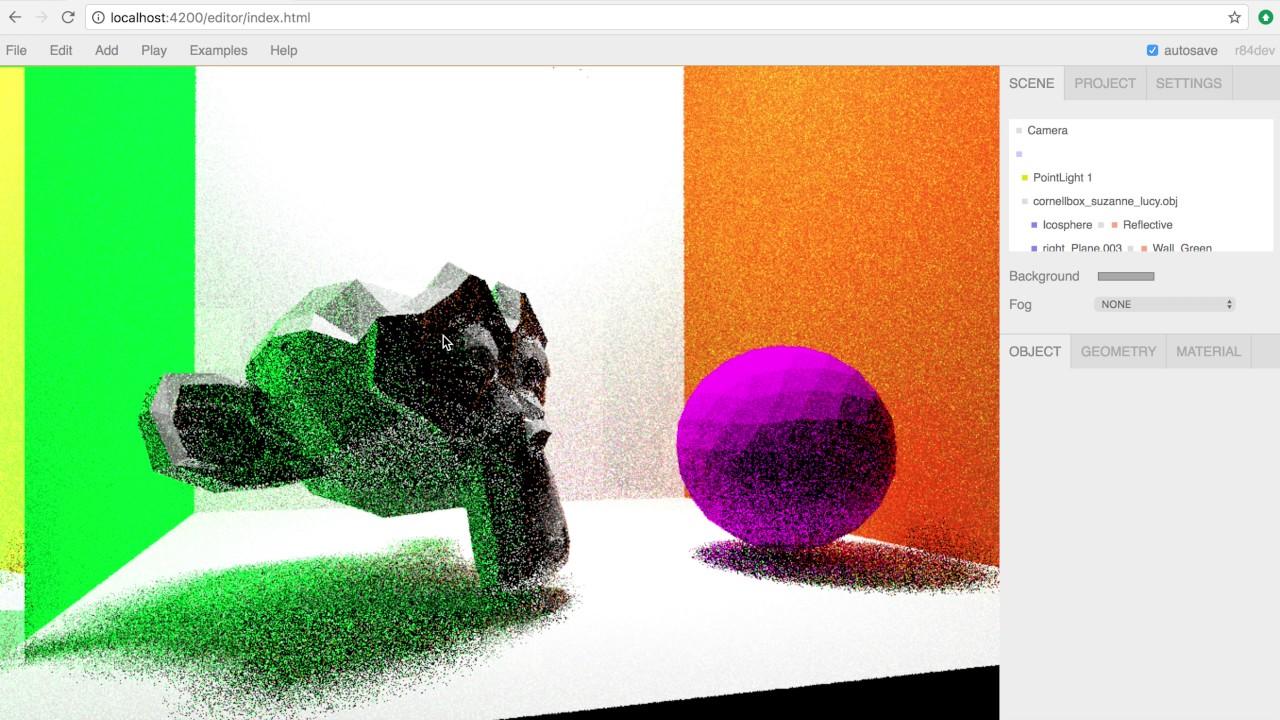 XRAY Global illumination Renderer for ThreeJS Editor Fullscreen