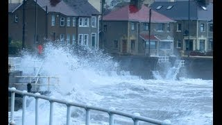 Storm surge, Carnlough County Antrim, Ireland - big waves and spring tide, January 3rd 2014.