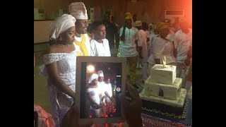 See How Saheed Balogun's Cute Kids,Mother & Other Celebs Joined in The Cutting Of His Gigantic Cake