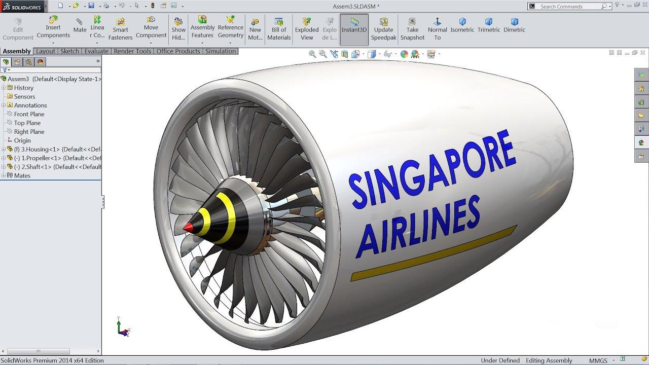 Solidworks tutorial   sketch jet Engine in Solidworks
