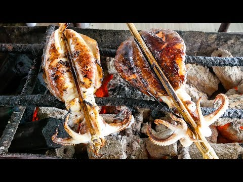 Cambodian Street Food - GIANT GRILLED SQUID and MEAT MARATHO