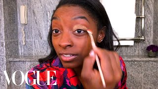 Simone Biles's Guide to Gold Eye Makeup | Beauty Secrets | Vogue