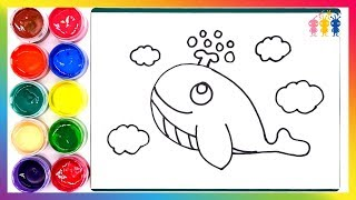 Whale Coloring and Drawing☆Learn Color☆poyopoyo