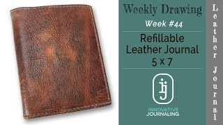 Weekly Drawing 44 - whethered leather cover and sketxhbook