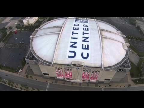 Drone Flying Around United Center in Chicago