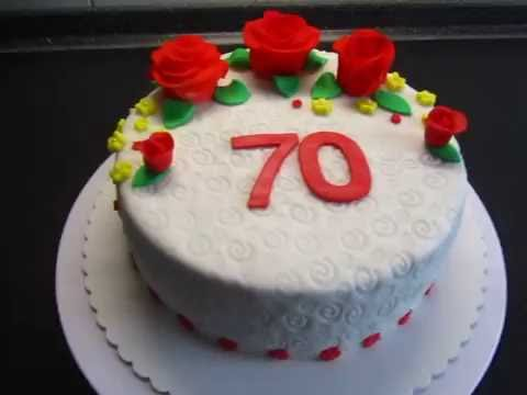 Fondant Torte zum 70.Geburtstag Rosen - YouTube