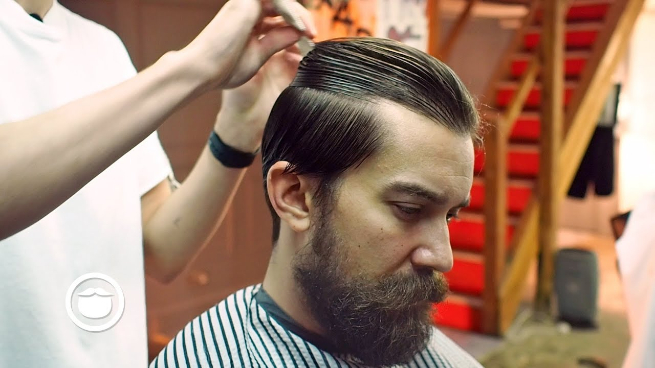 Slicked Back Hairstyle For Thick Hair Cut Grind Youtube