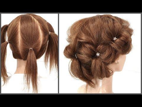 Простая и Быстрая прическа для коротких волос.Красивые прически пошагово. Fast Hairstyle For Short