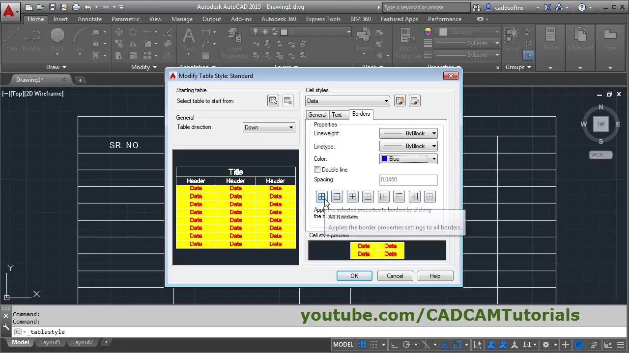 Autocad Table Command Tutorial Complete Table Style Settings