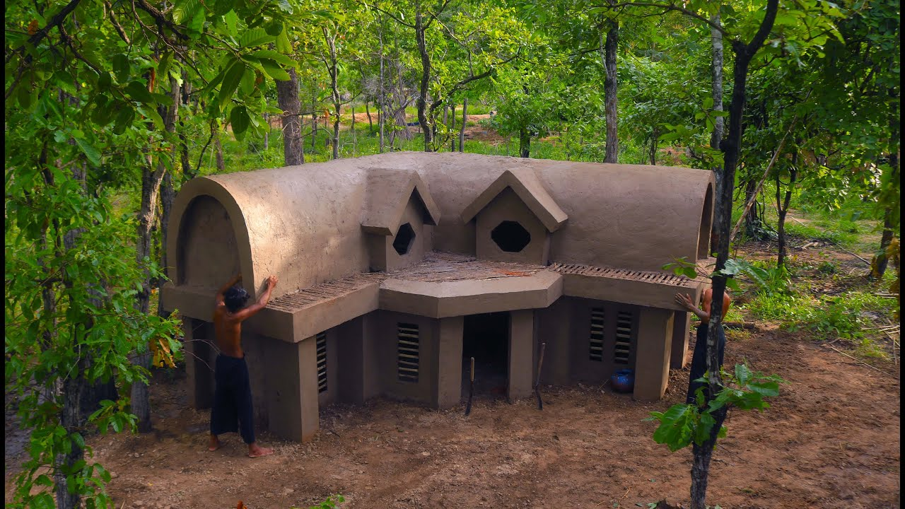 Primitive Building : How To Build a Simple Survival House In Forest