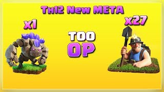 Th12 New Style: 1 Golem+ 27 Miner= Too OP!! | After JUNE Update | TH12 War Strategy #21 | COC 2018 |