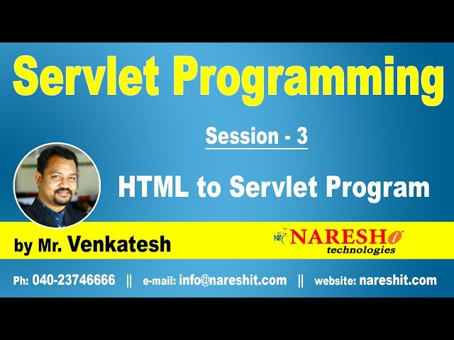 Servlet Tutorial | HTML to Servlet Program Part 3 | Servlet Programming | by Mr.Venkatesh