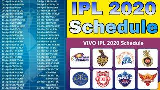 IPL Schedule 2020 - Big Update & All Matches Date | CSK, MI, RCB, SRH, KKR, KXIP, DC, RR | IPL 2020