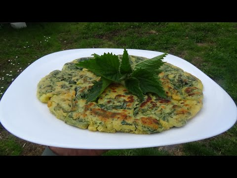 nettle-omelette-with-chickpea-flour-spontaneous-herbs-recipe-🍀vegetarian-family-diary🍀panelle