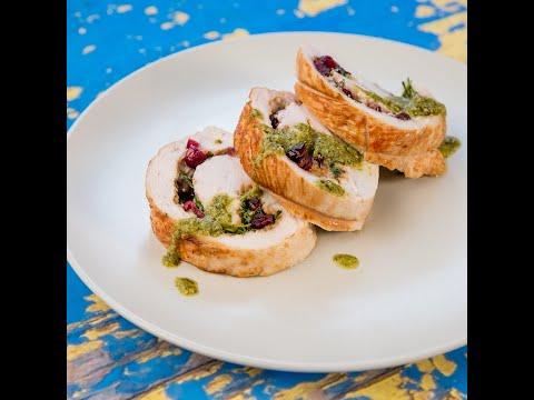 Mascarpone and Cranberry Stuffed Turkey Roll