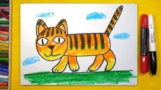 Как нарисовать Тигра, Урок рисования для детей от 3 лет(РыбаКит - Папа рисует: http://www.youtube.com/ribakit3 Сегодня развивающее занятие для детей - мы рисуем веселого полосато..., 2016-03-11T06:21:21.000Z)