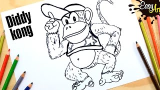 Cómo dibujar a  Diddy Kong / How to draw Diddy Kong /Donkey kong.