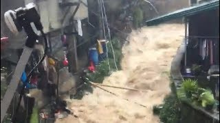 Severe flooding due to typhoon Ompong in Baguio, Philippines - September 15, 2018