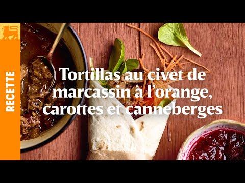 Tortillas au civet de marcassin à l'orange, carottes et canneberges