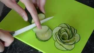 как сделать из огурца розу